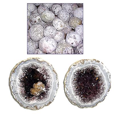 Afbeeldingen van Gekraakte Mexicaanse kristalbollen, geoden 5 kilo